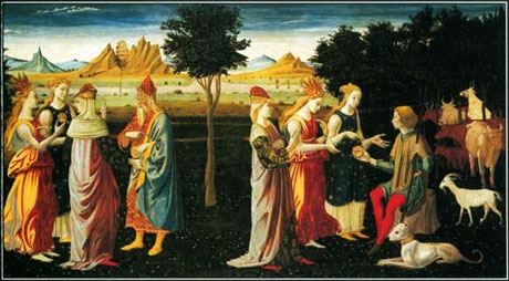 Eris offers the apple of discord to Athena, Aphrodite and Hera