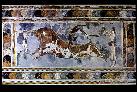 Fresco from the east wing Palace of King Minos, Knossos (circa 1500 BC)